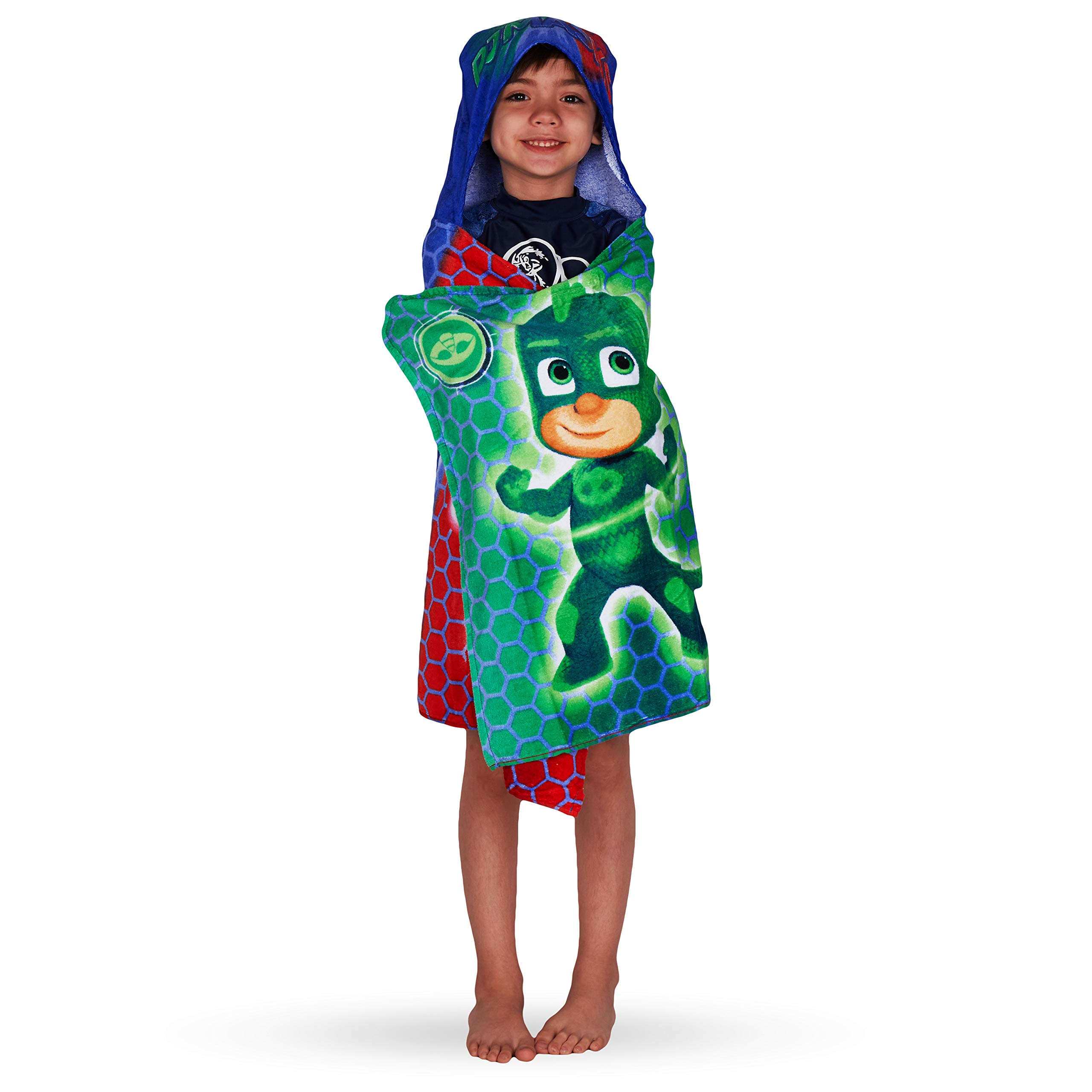 Franco Kids Bath and Beach Soft Cotton Terry Hooded Towel Wrap, 24'' x 50'', PJ Masks by Franco