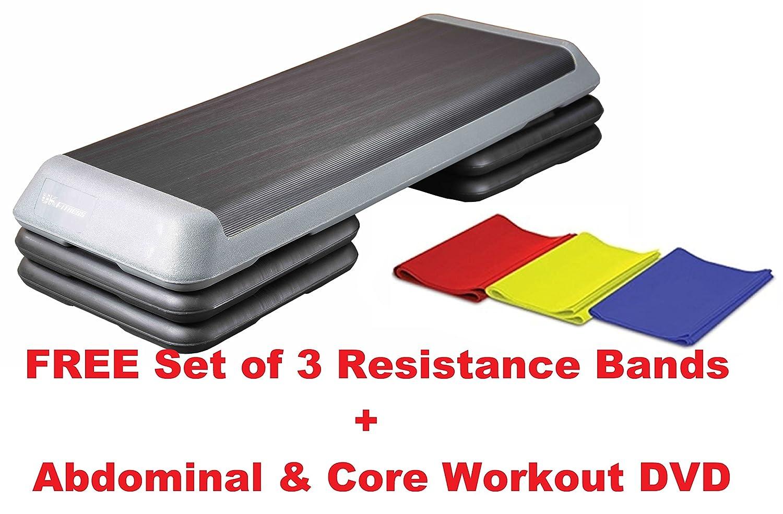 UK Fitness Aerobic Step Adjustable Pro Studio Stepper  109 x 41 cm 3 Step  Levels  FREE SET 3 RESISTANCE BANDS   CORE WORKOUT DVD  Amazon.co.uk   Sports   ... 7f06387fb