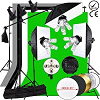 Abeatstudio 3375W Continuous Lighting Softbox Background Kit 15 x 225w 5400K Daylight Bulbs + 5-Socket Light Heads Softboxes Soft box Kit + 4 Backdrops (Black/White/Green/Gray)+3X 2m Light Stands +1X 2*3m Background Stand + 1X Boom Arm + 5in1 110cm reflector + Carry Bag