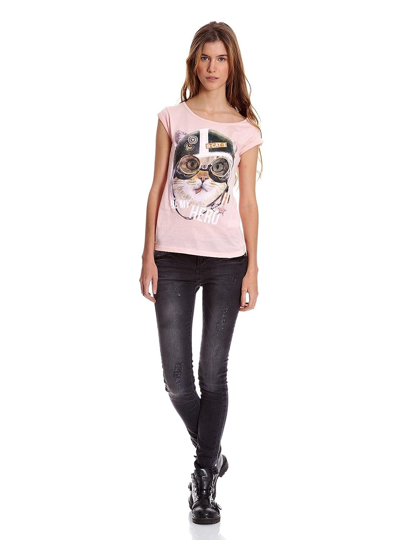 Bershka Camiseta Mix Cta M/C Gato Gorra Y Gafas Aviador Strass Rosa S: Amazon.es: Ropa y accesorios