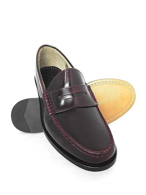 Zerimar Mocasin Antifaz Piso Suela de Cuero Piel Florentic Ideal para Ejecutivos Color Burdeos Talla 44: Amazon.es: Zapatos y complementos