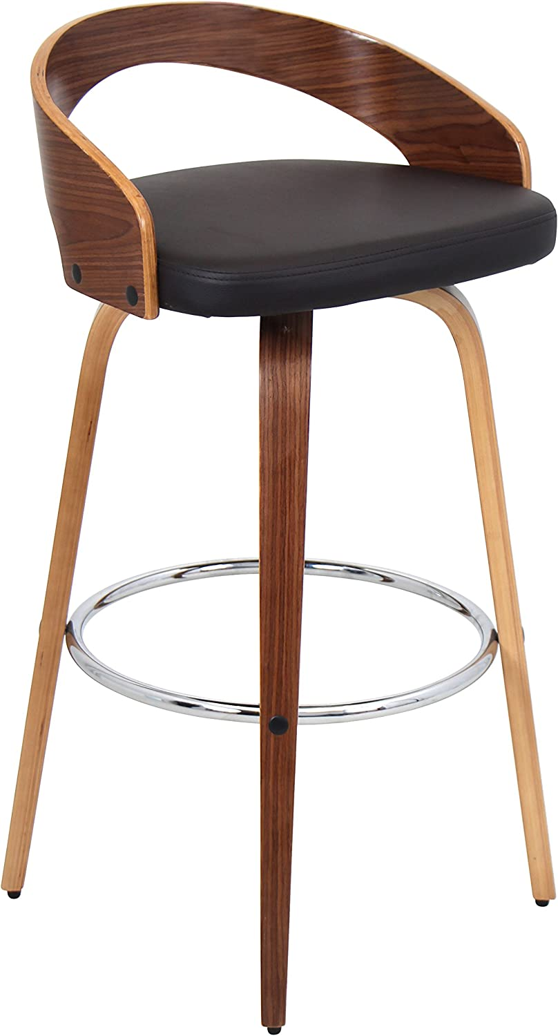 Lumisource Grotto Modern Barstool, Walnut Brown