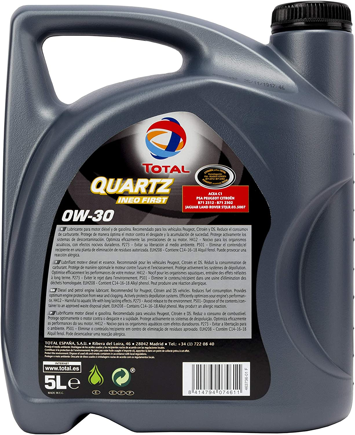 Total Toin0305 Quartz Ineo First 0w30 Engine Oils 5 Litres Auto