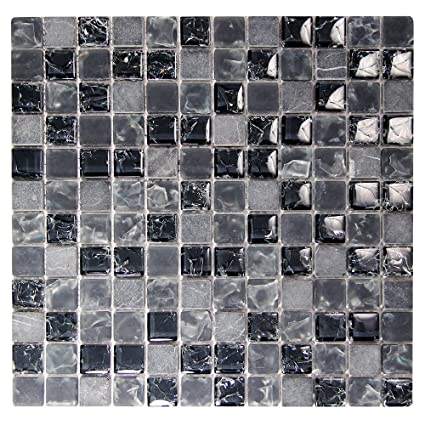 Black 1x1 Mosaic Glass Tile - Cracked Glass Tile and Grey Stone ...