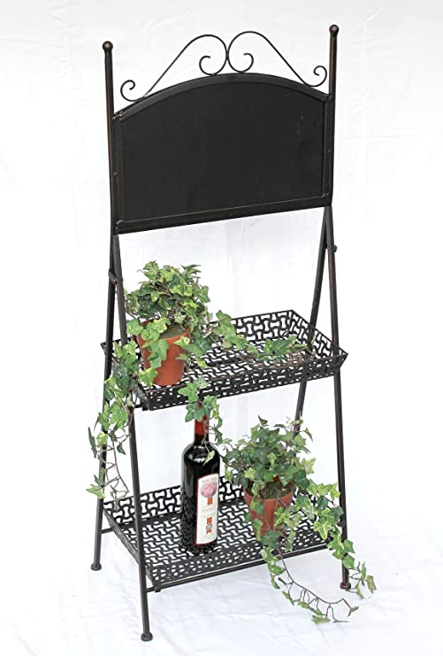 De flores con forma de escalera 130837 de metal con diseño de pizarra 108 cm flores de soporte para las plantas de la escalera: Amazon.es: Hogar