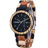 Bewell 木製 腕時計 メンズ 復古 曜日 日付き 日本製クオーツ ファッション 天然木腕時計 アナログ表示 男性用 誕生日プレゼント