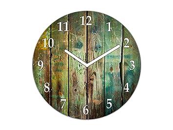 Reloj de Pared Grande - Cuadro de Cristal y Reloj de Pared - Variedad de diseños; TG10A Serie Texturas: Madera Vieja: Amazon.es: Hogar