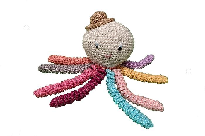 Pulpo amigurumi para recién nacido multicolor con sombrero. Pulpo de ...