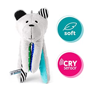 Whisbear The Humming Bear Sleep Soother, Sensory Toy for Babies, Helps Babies Fall Asleep with a Calming Sound, reacts to Babies' Crying, Safe Teddy Bear, Turquoise sleep habits for babies - 81w1ZEb4W9L - Sleep habits for babies – Sleep Gadgets to help your baby fall asleep