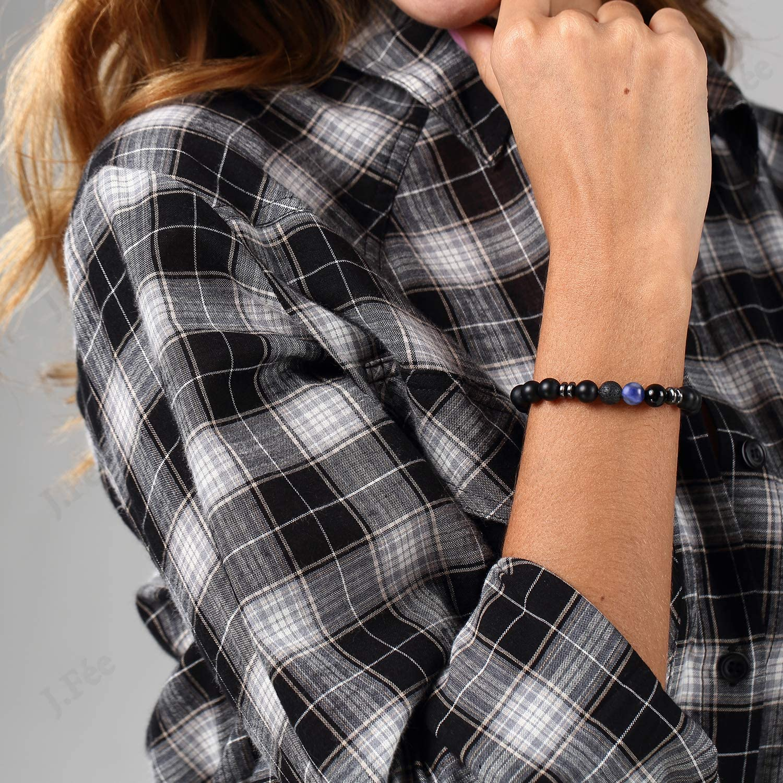 J.F/ée Saint-Valentin Bracelet Perles Bracelet 8mm Bracelet Semi Pr/écieux Bracelet de Pierre Gemme Hommes F/ête des M/ères Cadeau danniversaire Unisexe