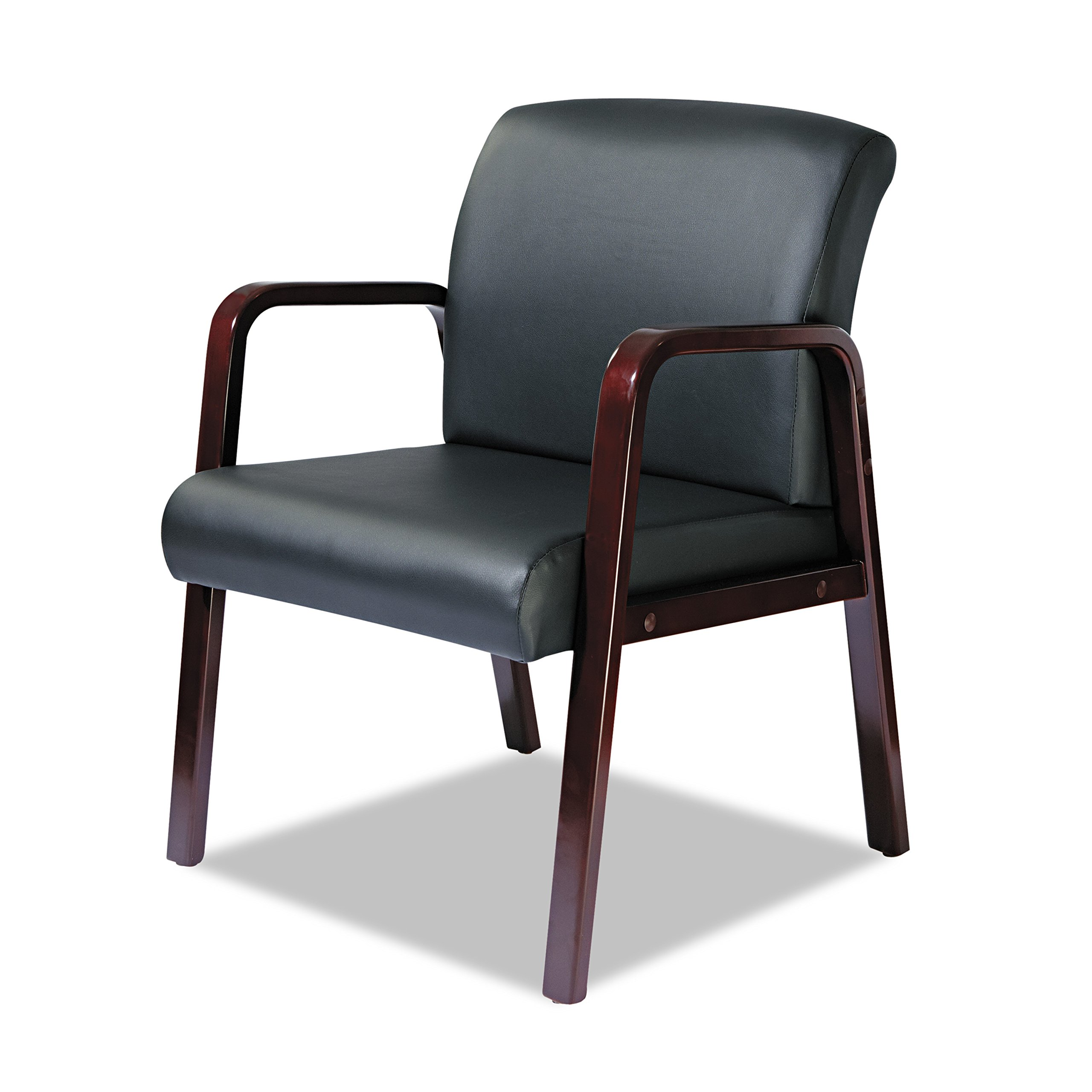 Alera ALERL4319M Reception Lounge Series Guest Chair, Mahogany/Black Leather by Alera (Image #2)