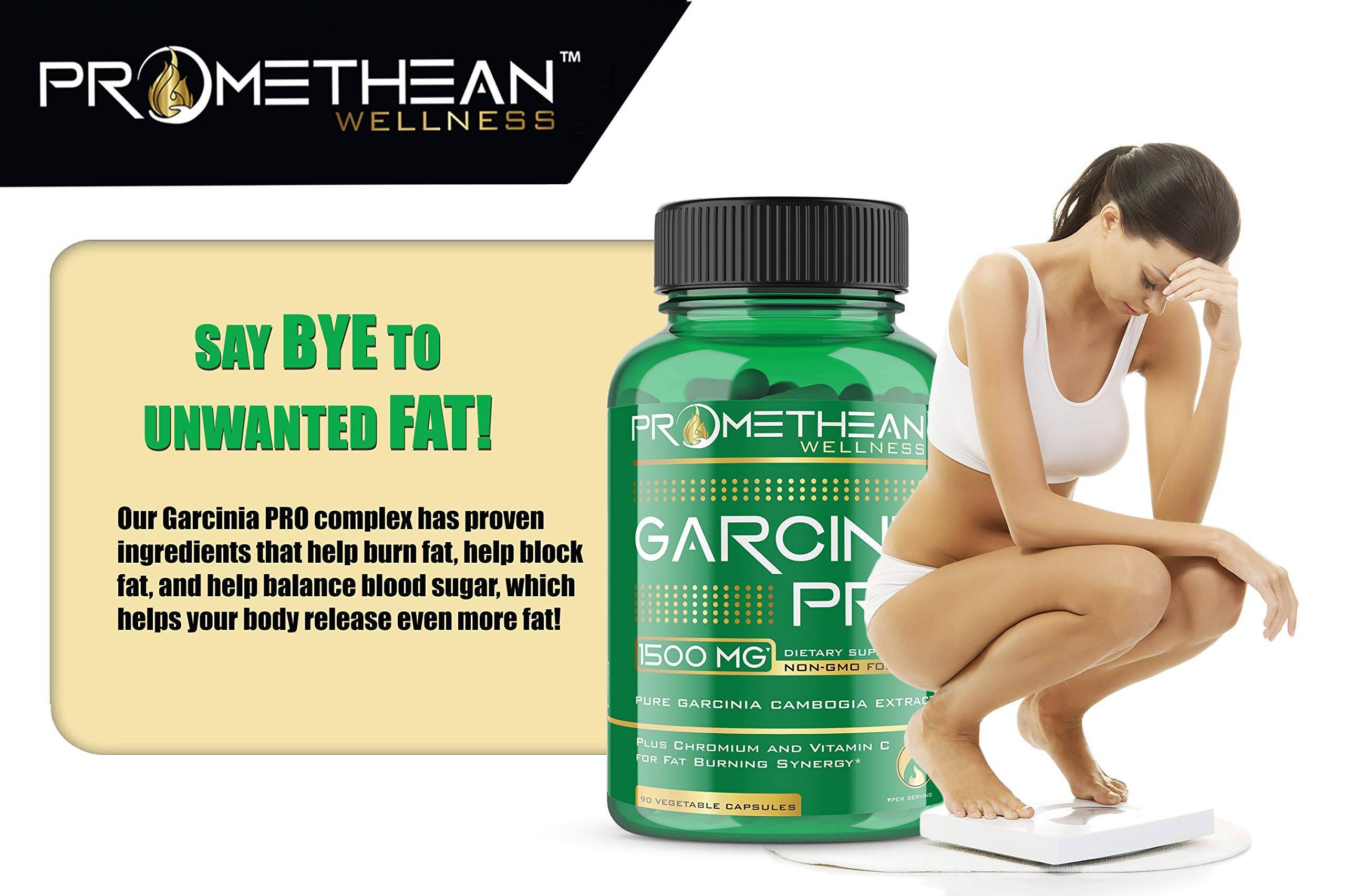 Garcinia PRO 100% Pure Garcinia Cambogia Extract for Weight Loss 1500mg Lose Fast Best Belly Fat Burner Pills Ultra Premium Natural HCA Metabolism Booster Carb Blocker Curb Appetite 90 capsules by Promethean Wellness LLC (Image #2)