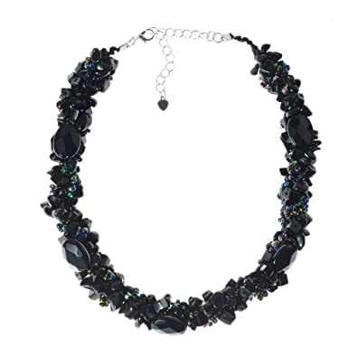 cb57c786be847d Amazon.com: Reconstructed Black Agate with Rainbow Seed Beads ...
