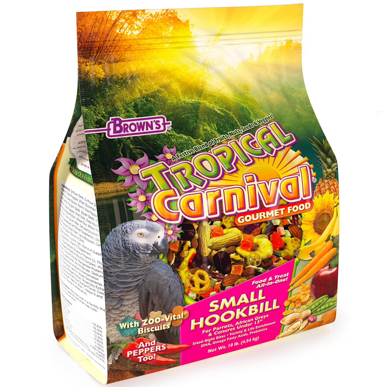 F.M. Brown'S Tropical Carnival Gourmet Bird Food For Parrots, African Greys, And Conures Under 13'' - Probiotics For Digestive Health, Vitamin-Nutrient Fortified Daily Diet by Tropical Carnival