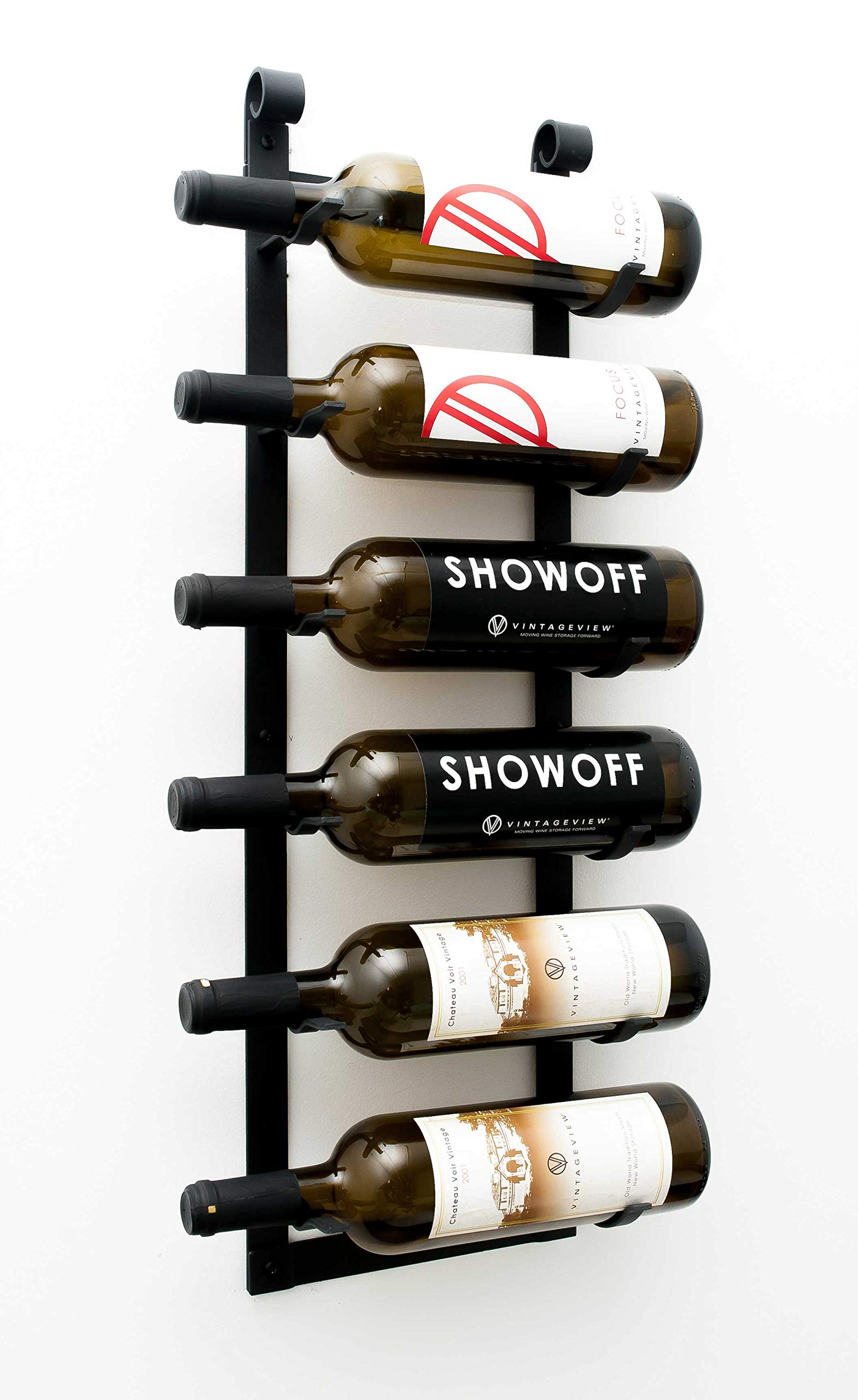 VintageView Wall Series - Le Rustique 6 Bottle Wall Mounted Wine Rack Stylish Modern Wine Storage with Label Forward Design by VintageView