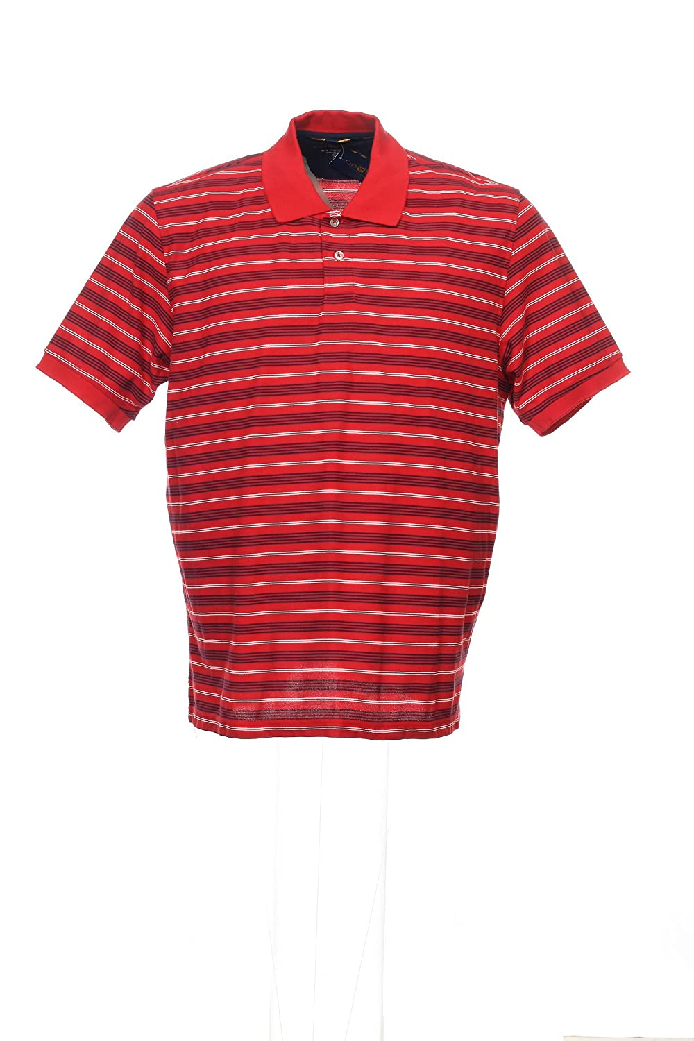 Club Room The Estate Polo Mens Red Horizontal Striped Polo Shirt