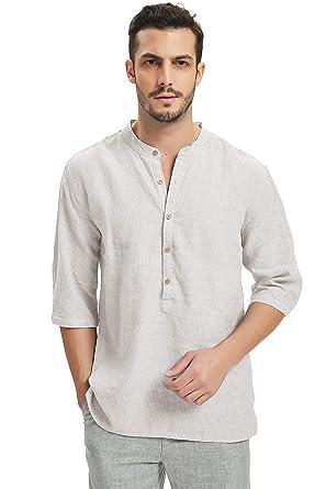 aac6a7da67b93 Najia Symbol Camisa 55% Lino Hombre Rayas Verticales Sin Cuello Manche 3 4  Playa  Amazon.es  Ropa y accesorios