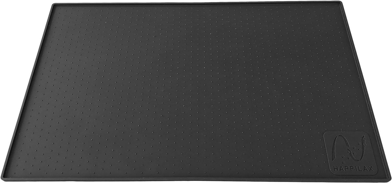 Happilax Alfombrilla Perro y Gato en Silicona Antideslizante para comedero y Bebedero, Negro, 60 x 40 cm, L