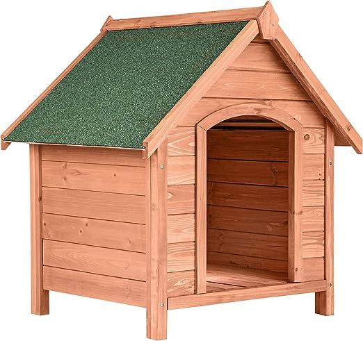 TecTake 403229 Caseta de Madera Maciza para Perro, Casa para Mascotas Animales, Construcción Resistente, Techo Extraíble, Ideal Exterior Interior Jardín, 72x65x83cm: Amazon.es: Productos para mascotas