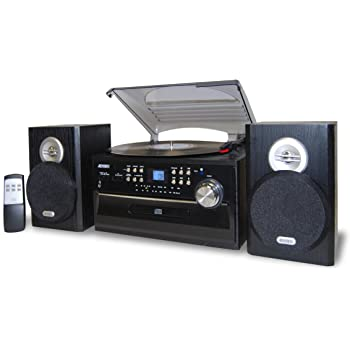 Jensen 3 Speed Turntable With CD Player, AM/FM Stereo Radio, Cassette  Player And Stereo Speakers, Blue Back Lit LCD Display, Dust Cover, ...