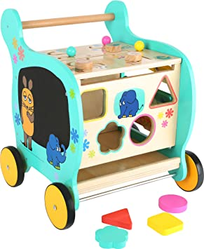 Small Foot Design 10495 Andador Programa de Madera con Motivos ausder Ratón versátil Diversión para niños a Partir de 2 años, Andador para Promover la ...