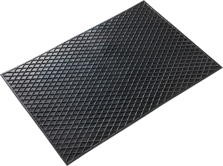 Walser Tapis rectangulaire en caoutchouc Noir