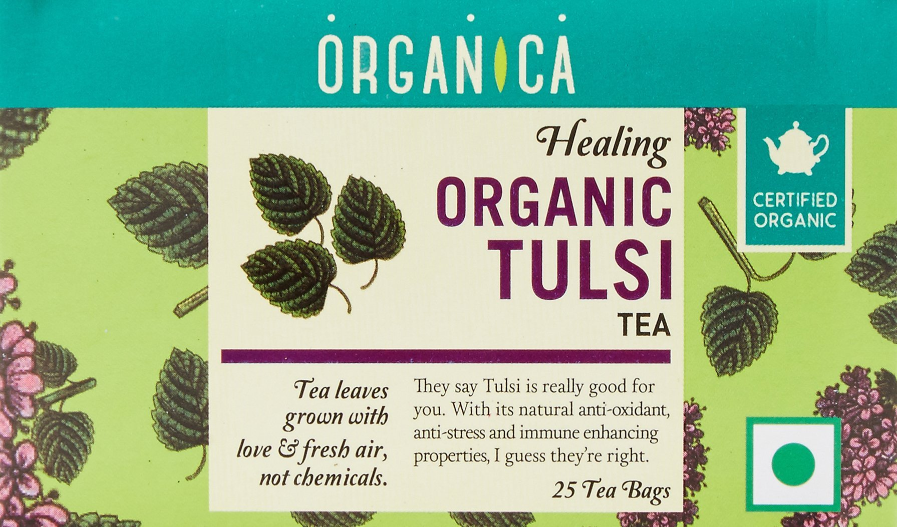 Organica USDA Certified Organic Tulsi Tea 2.5 oz (70 g) - 25 Tea Bags