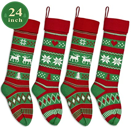 46354aaceea LimBridge 4 Pack 24 quot  Extra Long Stripe Snowflake Knit Knitted Christmas  Stockings