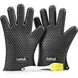 Barbecue Gloves, Extra Thick Heat Resistant Silicone Oven Mitts, Perfect Accessories for Grill, BBQ, Electric Smoker, Charcoal Chimney Starter, Safe Meat Turner, Best Grilling Gift for Men