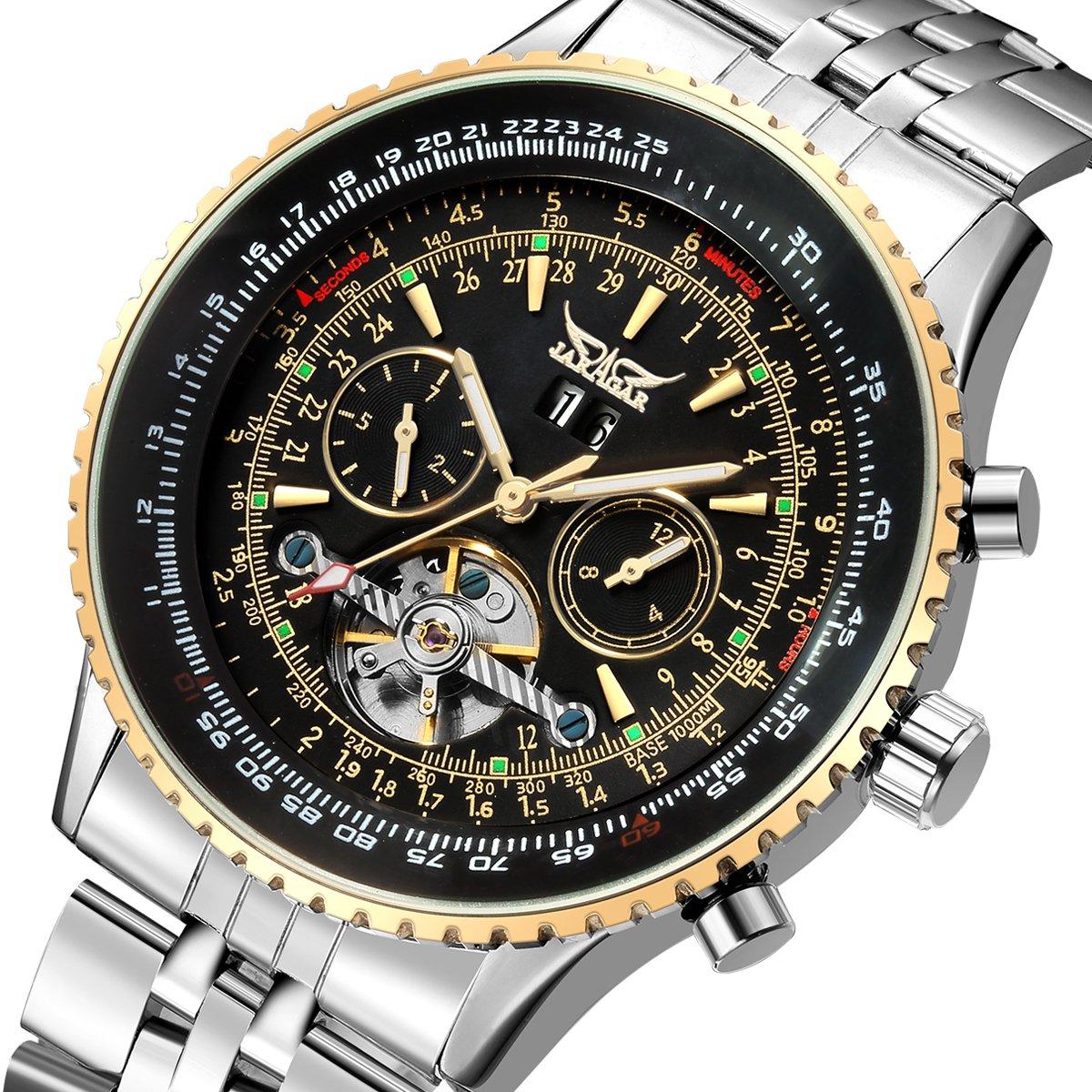Amazon.com: GuTe Pro Mens Tourbillon Mechanical Watch Tachymeter Day Date Month Wristwatch (Black): Watches