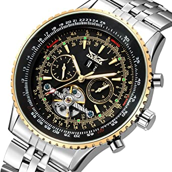 GuTe Pro Mens Tourbillon Mechanical Watch Tachymeter Day Date Month Wristwatch (Black)
