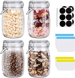 ESEOE Glass Jars, 4 Pack 34 OZ Airtight Lids Glass Canister, Wide Mouth Mason Jars With Hinged Lids, 4 Reusable Food Storage Bags, Chalkboard Labels For Kitchen Storage