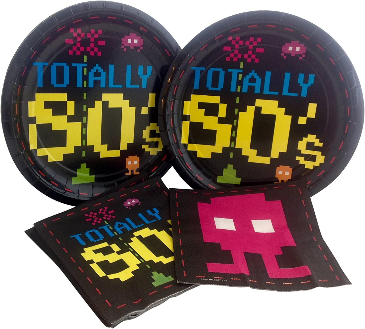 """Totally 80/'s Decor Retro Decades Awesome Theme Party 9/"""" Paper Dinner Plates"""