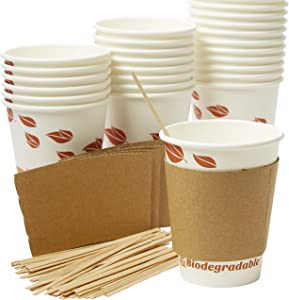 Recyclable, Biodegradable Hot Drink Cups 12 Oz, 100 Pk of Compostable Paper Mugs, Wood Stirrers and Cardboard Coffee Sleeves. Bulk 12oz Beverage Supplies Set Perfect for Eco Friendly Business or Cafe