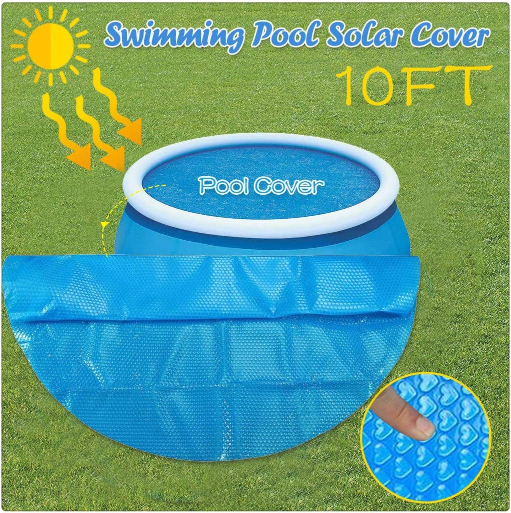 Solar Pool Cover for Above Ground Pool, 8/10/12/15ft Diameter Round Swimming Pool Cover Protector, Prevent Evaporation, Retain Heat, Place Bubble-Side Down in Pool (10ft(300X300CM))
