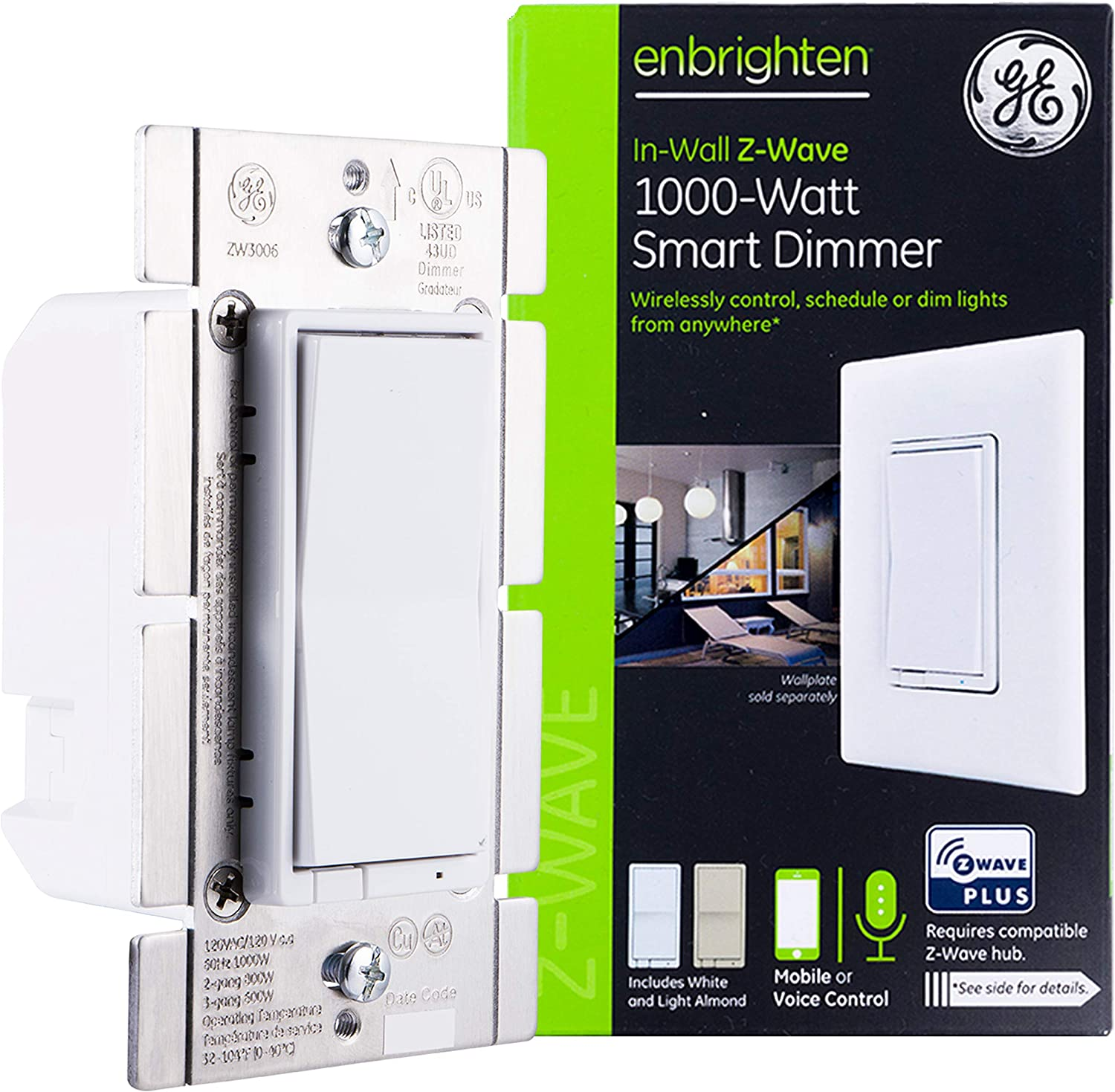 GE Enbrighten Z-Wave Plus 1000-Watt Smart Dimmer, No Neutral Wire Required, Halogen/Incandescent Bulbs Only, Works with Alexa/Google Assistant, ZWave Hub Required, White & Light Almond, 14299