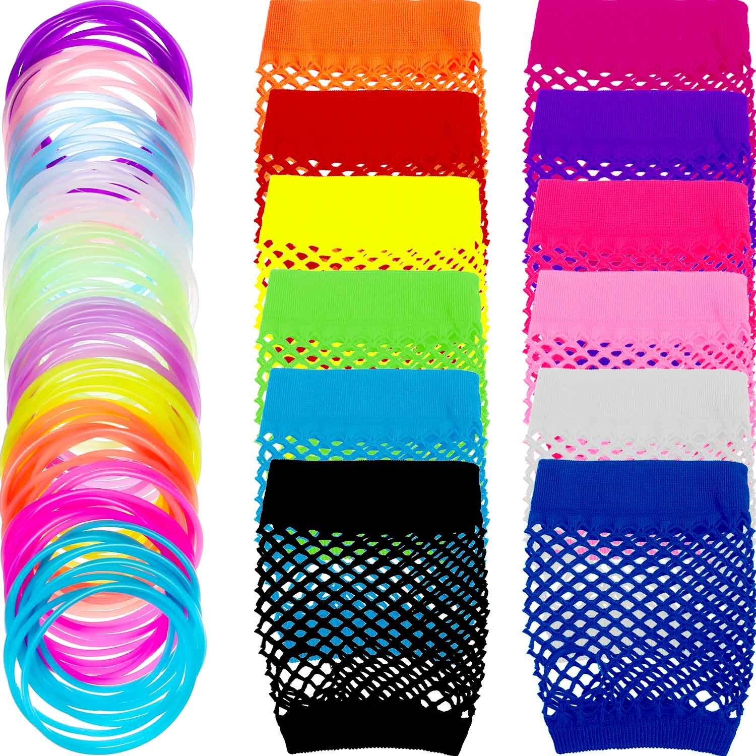 TecUnite 12 Pairs Neon Colored Fingerless Fishnet Gloves and 100 Pieces Multicolor Silicone Jelly Bracelets Luminous Hair Ties for Various Theme Parties