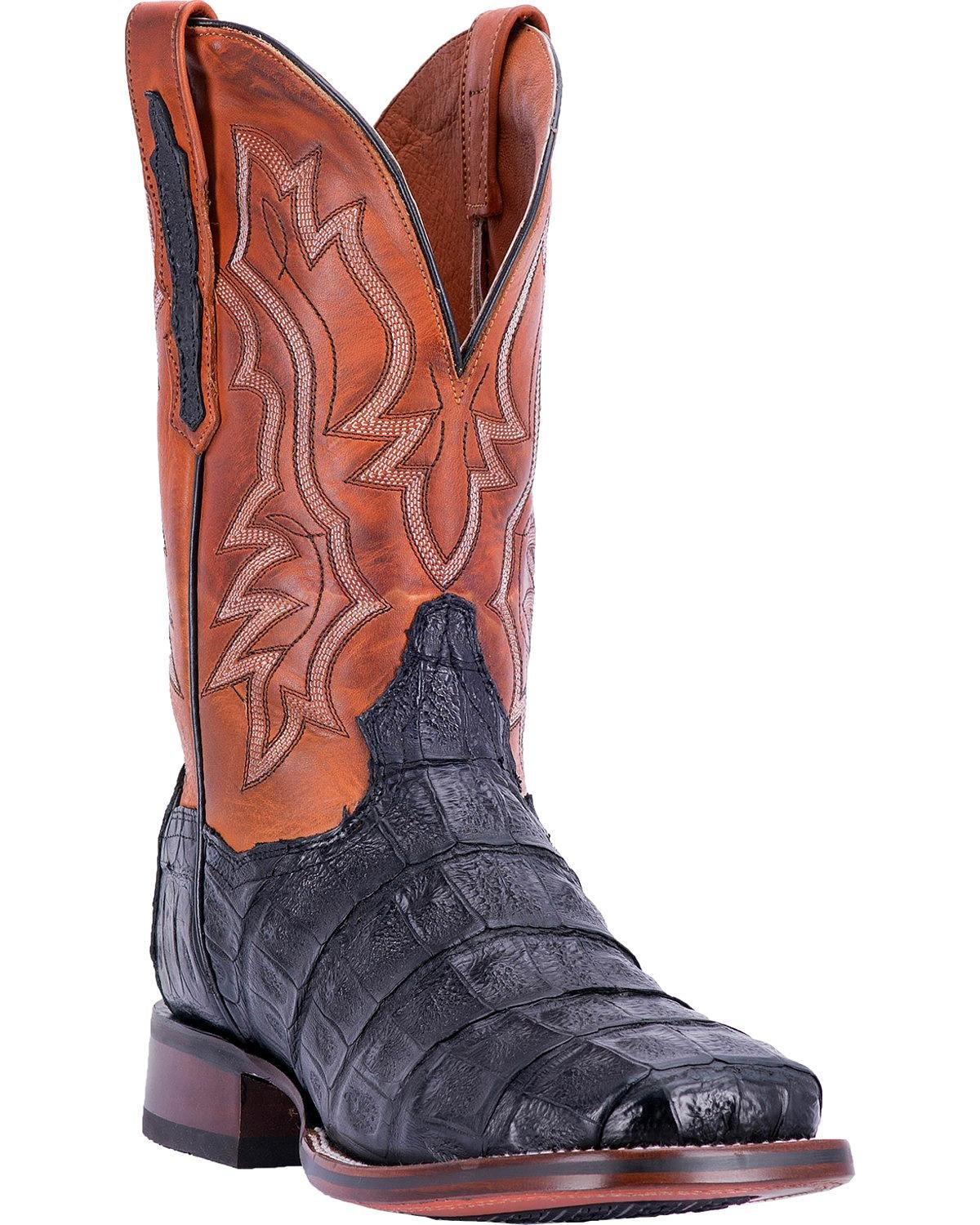 Dan Post Men's Bishop Caiman Tail Cowboy Certified Boot Square Toe Black 9.5 D