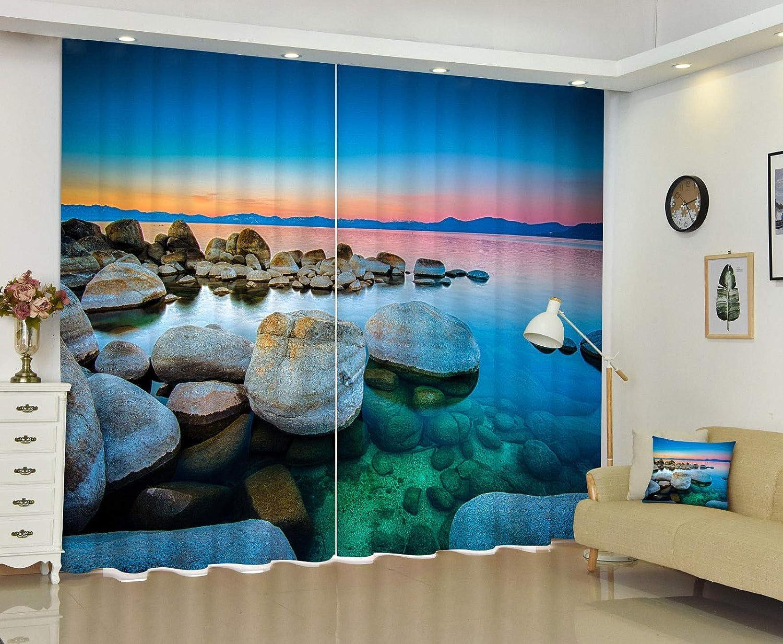 "FidgetGear 3D写真の印刷窓のカーテン壁画海水石の封鎖は生地をドレープ 80×84 (203×213CM) 80×84""(203×213CM)  B07Q57HG8M"