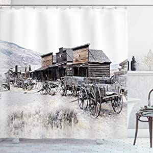 "Ambesonne Western Shower Curtain, Old Wooden Wagons from 20's in Ghost Town Antique Wyoming Wheels Artwork Print, Cloth Fabric Bathroom Decor Set with Hooks, 70"" Long, Grey White"