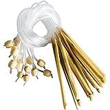 Set da 16 Uncinetti 15cm in Bambù da Curtzy - Kit Ideale per Lavorare a Uncinetto Molti Modelli e Progetti tra cui Pizzo, Fiori, Centrini, Vestiti Bimbo - Formati 2-12mm Estremità Cavi in Plastica