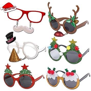 11719c2a7c77 Snowman Reindeer Santa Elf Treet Lights Great Fit Festive Christmas  Sunglasses Variety - 6 PACK