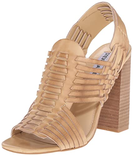 Steve Madden Women's Suttun Heeled Sandal, Natural Leather, ...