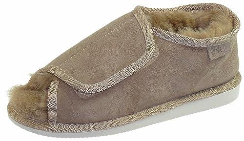 Harrys-Collection Extra Dicke Lammfell Schuhe mit Klettverschluss,  Farben beige, Schuhgröße  0844841050