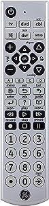 GE Big Button Universal Remote Control for Samsung, Vizio, Lg, Sony, Sharp, Roku, Apple TV, RCA, Panasonic, Smart TVs, Streaming Players, Blu-Ray, DVD, 4-Device, Silver, 34931