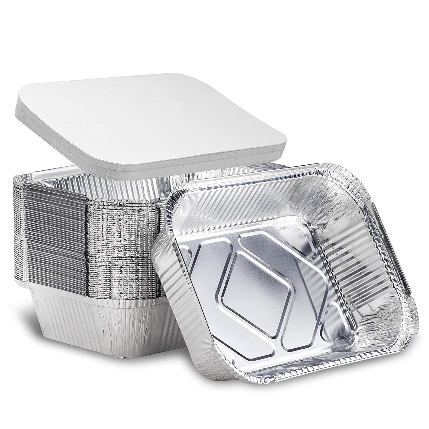 """5LB Foil Pan with Lid 10.5x7.5x2.5"""" Large Aluminum tin Pans with Covers dsposable Food containers Great for Baking Cooking Heating Storing Prepping Food by lsshao"""