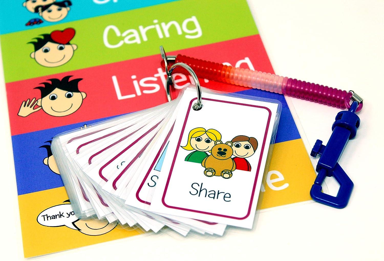 Positive /& Negative Communication Cards for kids Special Needs Autism Childrens Visual Behaviour Flash Cards Keyring Pack