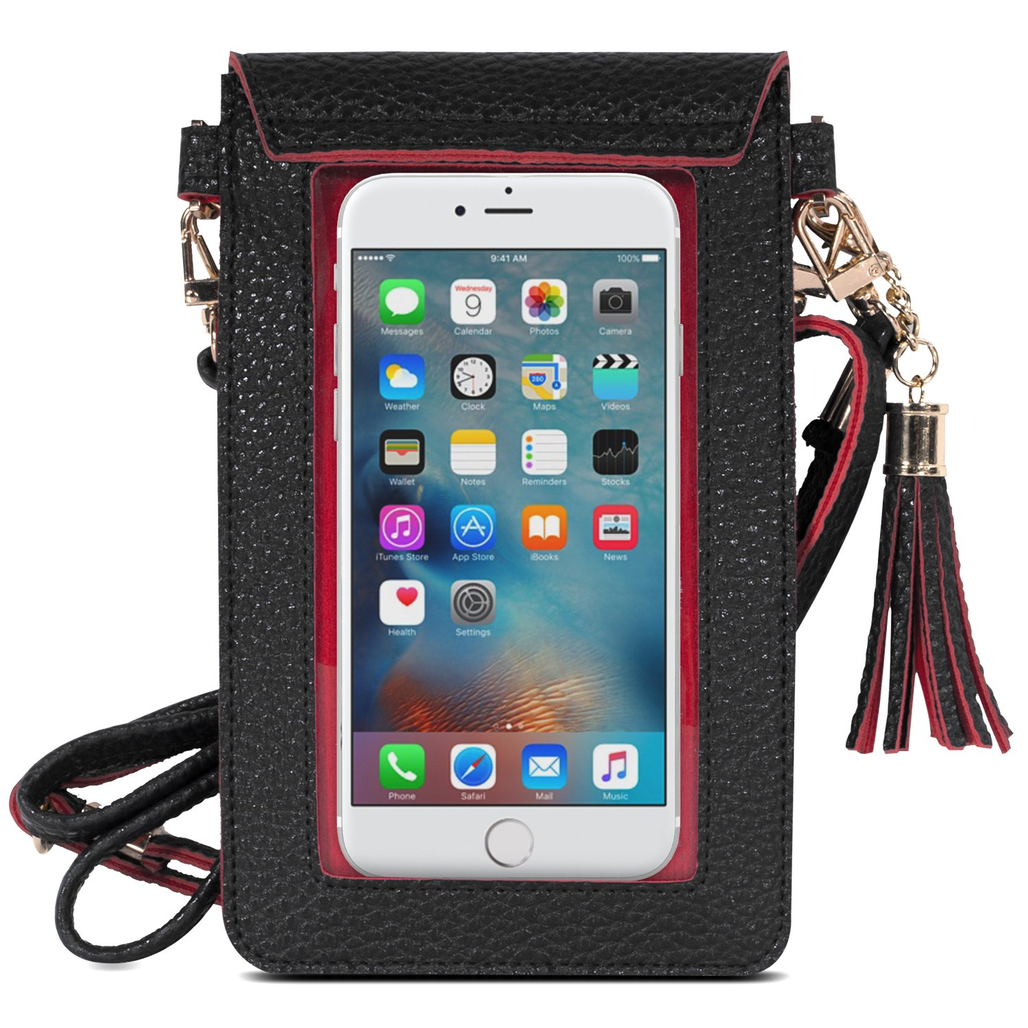 MoKo Cell Phone Bag, PU Leather Crossbody Bag Mini Phone Pouch with Shoulder Strap Fit with iPhone X, 8, 8 Plus, 7 Plus, 6S Plus, 6 Plus, 7, 6S, 6, 5S, 5C, Samsung S8, S7 Edge, S6, J3, J7, Black+Red