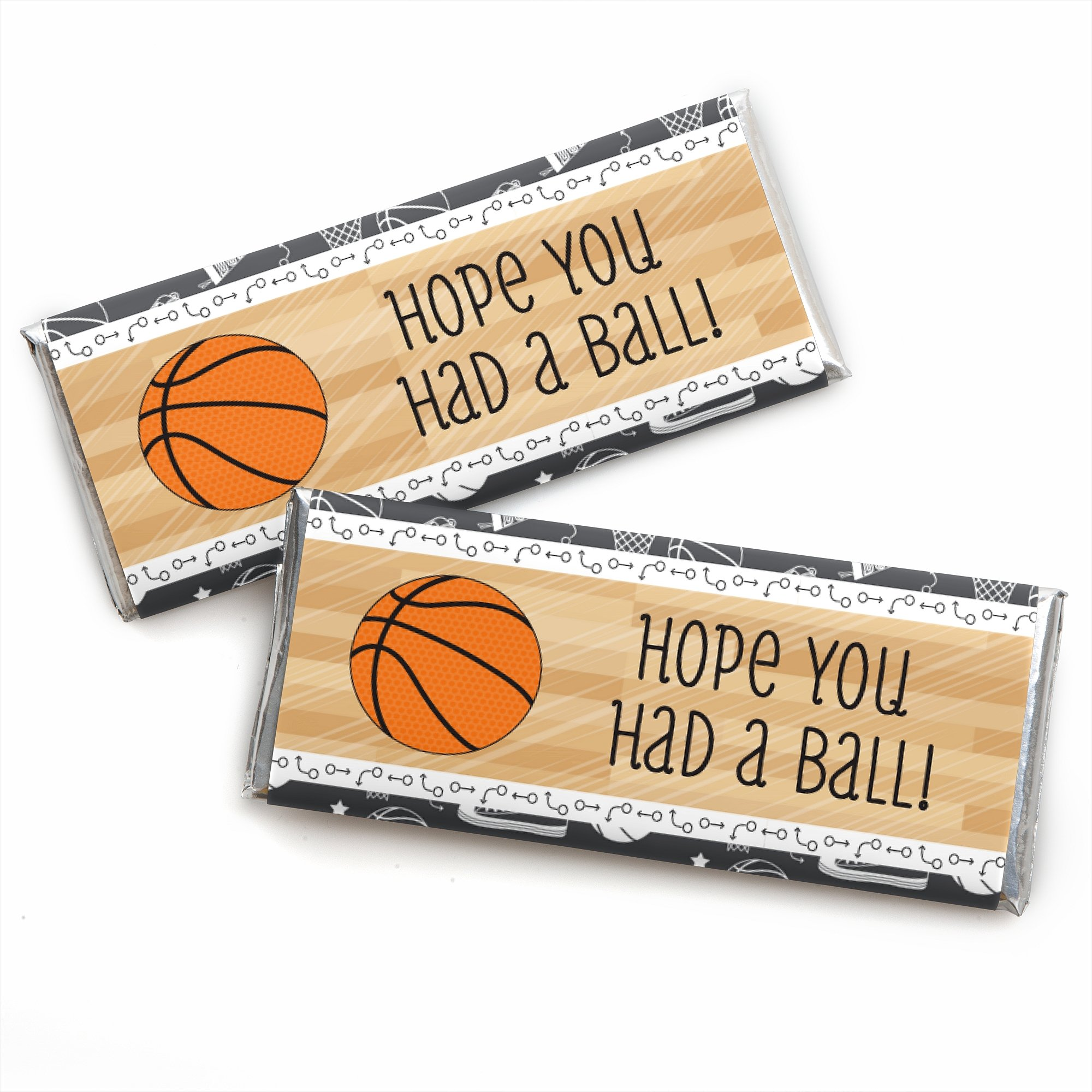 Big Dot of Happiness Nothin' but Net - Basketball - Candy Bar Wrappers Birthday Party Favors - Set of 24