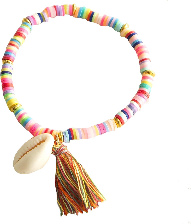 Kiss Me! Pulsera elástica TopModel, Ibiza, hippie, mercado indio, para mujer, con concha colgante, perlas de diferentes colores, borla multicolor
